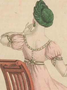 When thinking of the fashions between 1788 and 1820, the obvious characteristics seem to be a high waist-line, as slim skirt and puff-sleeves. There's a lot more variation in sleeve styles though, ...