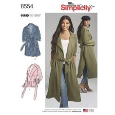 In this Simplicity pattern sized for Misses and Miss Petite, our easy-to-sew soft trenchcoat and jacket are the perfect layering pieces. Length options include short, mid, and long with side slits and optional pockets and ties.