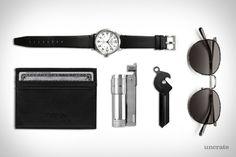 Abercrombie Heritage Watch ($98). Polo Ralph Lauren Wallet ($55). IMCO Lighter ($19). Everyman Porter Key Knife ($21). Salt Optics Brower Sunglasses ($475)....