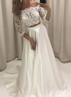 White Satin and Applique Two Piece Prom Dress, Short Sleeves Party Dress, Junior Prom Dress,#twopiecepromdress,#promdress2018