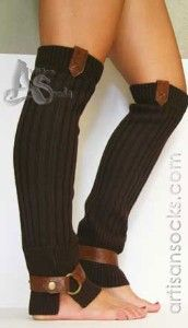 cable knit leg warmers with brown leather straps