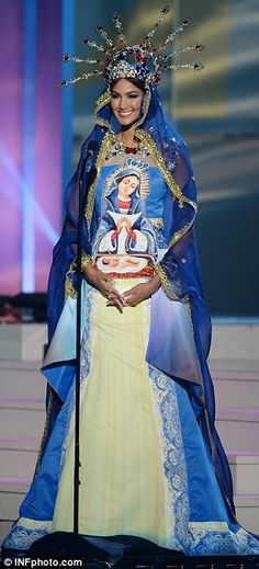 The Miss Universe contestants took part in the National Costume round of the competition last night. Outfits included the patron saint of the Dominican Republic