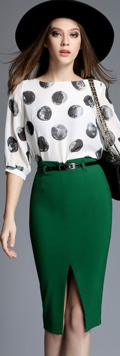 Green Slit Pencil Skirt
