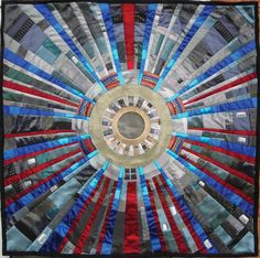"Quilt entitled ""Breakthrough"" - 2009 by Kate Findlay. Large Hadron Collider quilt!"