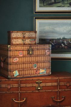 """""""Inspired by popular travel (could use steamer instead of travel) trunks from late 19th and early 20th century  Britain, the Voyager Collection takes you on a journey to the past with its modern interpretations of these  vintage treasures. The combination of leather and oak detailing complemented by map-lined drawers  encourages you to unleash your inner explorer."""" #JonathanCharles #Voyager #Furniture #InteriorDesign #Hpmkt #Decorex"""