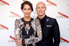 Former Olympian Michael Klim and wife Lindy Klim at the Mumm Marquee on Derby Day. Melbourne Cup Carnival 2014. Spring Racing.