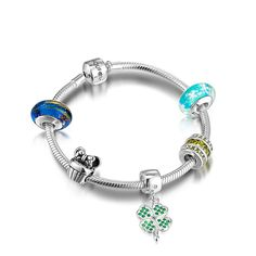 Legend Of Lucky Clover Charm Bracelet 925 Sterling Silver
