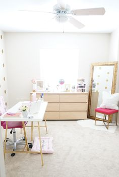 """Love Charmaine's white and gold and pink """"office & beauty"""" room!"""