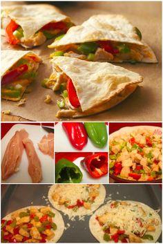 Clássico da cozinha Mexicana… Chicken Quesadilla. Eu adoro esse prato, o sabor, a crocância, a textura… E também a praticidade. Servida com souer cream e guaca mole… Hummmm……