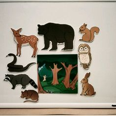 Who's Hiding in the Woods flannel -- do with only nocturnal animals Flannel Board Stories, Felt Board Stories, Felt Stories, Flannel Boards, Woodland Animals Theme, Woodland Creatures, Forest Animals, Forest Creatures, Forest Crafts