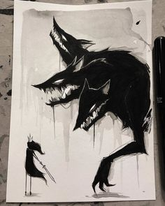 regram day cerberus (original available) Creepy Drawings, Dark Art Drawings, Arte Horror, Creepy Art, Art Tutorials, Art Inspo, Pixel Art, Art Sketches, Art Reference