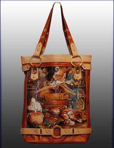 """Сумка """"P.S."""" - рисунок,гномы,сумка,авторская сумка,ручная работа,натуральная кожа"""