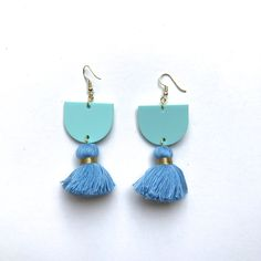 Annie Earrings // Turquoise Green/Blue with Blue + gold