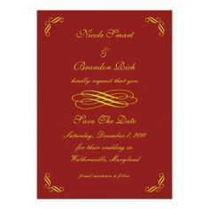 Golden Fairy Tale Save The Date (red) Custom Invites
