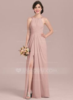 A-Line/Princess Scoop Neck Floor-Length Chiffon Bridesmaid Dress With Ruffle Beading Sequins Split Front (007126468)