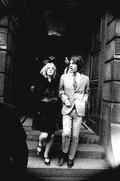 Marianne Faithfull and Mick Jagger leaving court after being convicted on drugs charges in 1969.