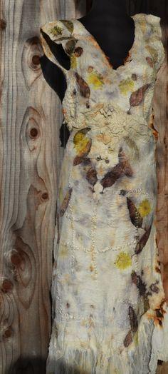 eco print on nuno felted dress by www.tashwesp.com