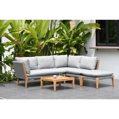 Wrought Studio Olinda 4 Piece Teak Sectional Seating Group with Cushions Outdoor Seating, Outdoor Decor, White Cushions, Sofa Set, All Modern, Outdoor Furniture, Outdoor Sofas, Modern Furniture, Wood Furniture