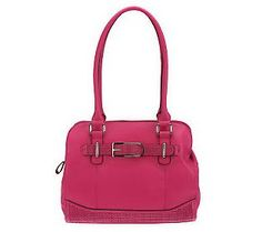 Tignanello Pebble Leather Satchel with Perforated Accents. How fun and playful is this shopper?! Get it fast the pop colors are going quick! $117.50 at QVC.com