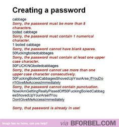 Pains Of Creating A Password…