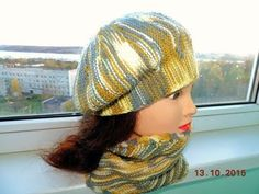 Берет спицами. Частичное вязание. МК. - YouTube Knitting Patterns Free, Hand Knitting, Crochet Patterns, Free Crochet, Knit Crochet, Crochet Hats, Knitted Beret, Feather Crafts, Freeform Crochet