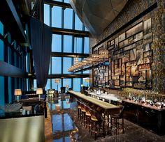 The St. Regis Shenzhen—St. Regis Bar--- love graphic image collage behind bar