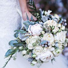 Spring snow has us feelin' this silvery bouquet for #weddingwednesday bouquet inspiration! : @jonhartmanphoto : Gail Vander Laan #bride #flowers #bridalbouquet #weddinginspiration