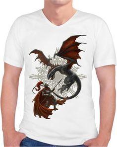 Kerem Beyit - Knight and Dragon Kendin Tasarla - Erkek V Yaka Tişört