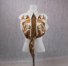 Vintage 1970's Floral Butterfly Orange by PatternVintageLondon