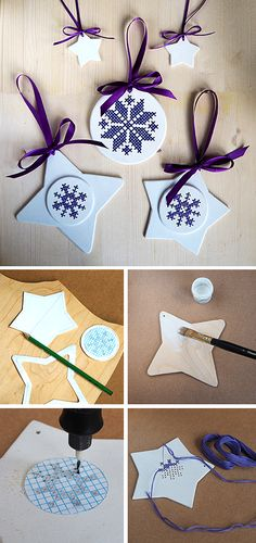 How to make wooden cross-stitch Christmas tree ornament. Click on image to see step-by-step tutorial