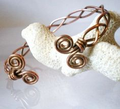 Celtic Style Braided Copper Cuff Spiral Ends Antique Finish