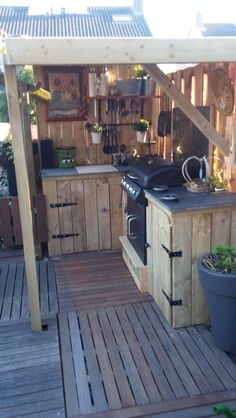 shed into outdoor kitchen \ shed kitchen outdoor ; shed with outdoor kitchen ; outdoor kitchen shed ideas ; outdoor kitchen with storage shed ; outdoor kitchen and shed ; shed roof outdoor kitchen ; diy outdoor kitchen shed ; shed into outdoor kitchen Basic Kitchen, Kitchen On A Budget, Minimal Kitchen, Open Kitchen, Kitchen Island, Backyard Storage Sheds, Modern Outdoor Kitchen, Rustic Outdoor Kitchens, Kitchen Rustic