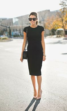 Shop this look on Lookastic:  https://lookastic.com/women/looks/sheath-dress-pumps-crossbody-bag-sunglasses-watch/10668  — Black Sunglasses  — Black Sheath Dress  — Gold Watch  — Black Leather Crossbody Bag  — Beige Leather Pumps