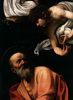 Caravaggio (italiano, 1571-1610) L'ispirazione di San Matteo (particolare), 1602 Olio su tela, Cappella Contarelli, San Luigi dei Francesi, Roma.