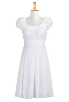 Who doesn't love eyelet lace in the summer? Plus the cap sleeves and waistline are so Jane Austen. Super cute!