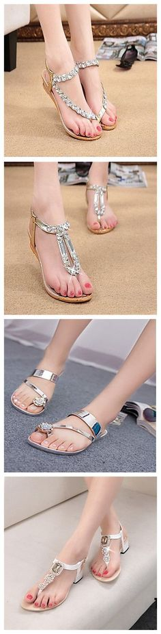 #Flat silver #sandals. Your feet could be even more slim and beautiful with them. Check them out!
