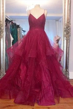 Sparkly Straps Ruffles Red Long Prom Dress with Open Back Cheap Prom Dresses, Dress Prom, Homecoming Dresses, Graduation Dresses, Dress Long, Red Glitter Dress, Formal Gowns, Ruffles, Sparkle