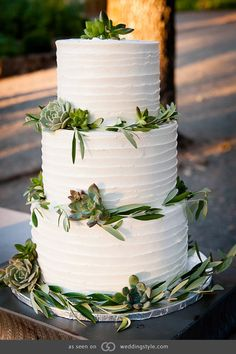 Three-tiered white frosted cake with accents of olive branches and succulent plants. @grace_ormande @wedding_style