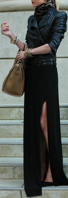 Black leather maxi skirt worn with black leather jacket.