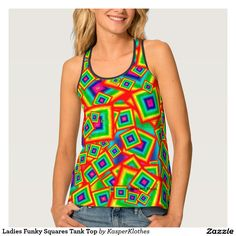 Ladies Funky Squares Tank Top