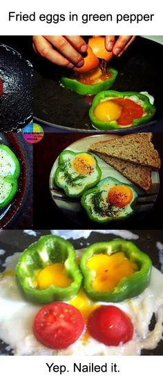 Fried eggs in green pepper. Nailed it!
