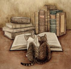 Cats reading (for a label)