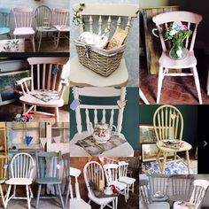 Pretty Old Summerhouse vintage chairs, as supplied to The Great British Bake Off 💕🌸🍰.. £49 per chair FULL UK delivery available https://the-old-gatehouse.myshopify.com/collections/original-vintage-painted-furniture/products/british-bake-off-vintage-mismatched-country-cottage-farmhouse-style-chairs