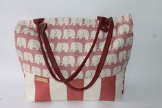 Tote bag Canvas diaper   Leather strap elephant bag large red waterproof bag by BYildi on Etsy bag  #diaper bag  #red bag #large bag #elaphant bag  #