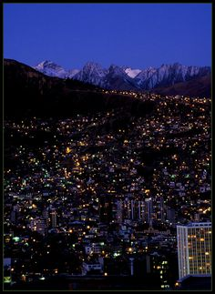 Night in La Paz, Bolivia.