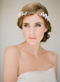FLORENCE gold bridal crown wedding flower halo by percyhandmade