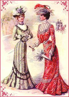 ilustraciones vintage damas victorianas