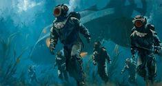 Jules Verne, Mural Digital, Under The Sea Images, Nautilus Submarine, Under The Sea Background, Illustrator, Sea Illustration, Steampunk, Leagues Under The Sea