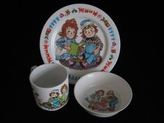 Your place to buy and sell all things handmade Large Plates, Plates And Bowls, Vintage Crockery, Raggedy Ann And Andy, Sale Sale, Cereal Bowls, My Childhood, Tableware