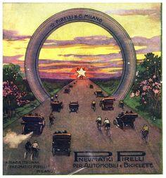 PUBBLICITA' 1911 PIRELLI PNEUMATICI GOMME AUTO BICICLETTE STRADA  TRAMONTO Advertising Poster, Yachts, Volkswagen, Boats, Red And White, Automobile, Posters, Retro, Green